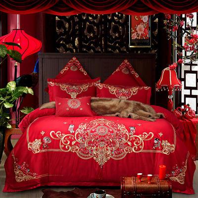 2018新款高端婚庆60长绒棉重工刺绣四件套 1.5m(5英尺)床 如花似锦