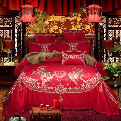 2018新款高端婚庆60长绒棉重工刺绣四件套 1.5m(5英尺)床 舞凤飞龙