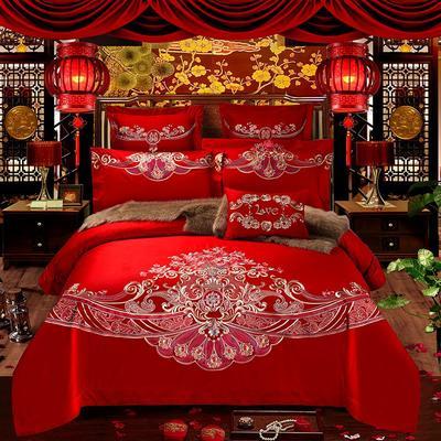 2018新款高端婚庆60长绒棉重工刺绣四件套 1.5m(5英尺)床 相守相依