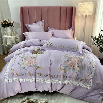 2019新款60支长绒棉四件套 庭院.爱丽丝 1.5m(5英尺)床 爱丽丝-浅紫