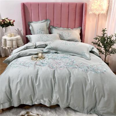2019新款60支长绒棉四件套 庭院.爱丽丝 1.5m(5英尺)床 庭院芳菲-柠檬绿
