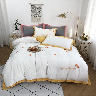 2019新款全棉水洗棉蜜桔五色四件套 1.8m(6英尺)床 蜜桔白