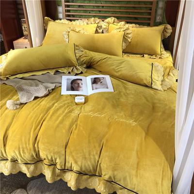 2019华肤绒电脑花边款四件套 1.5m床单款四件套 富贵黄