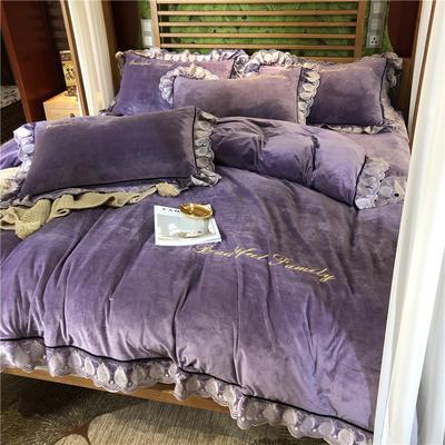 2019华肤绒电脑花边款四件套 1.5m床单款四件套 幸运紫