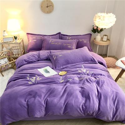 2019新款牛奶绒绣花四件套 1.8m床单款 秘境-紫色