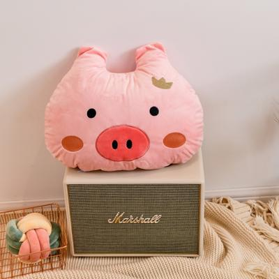 2019新款宝宝绒猪猪绣花抱枕 50*40cm 粉色