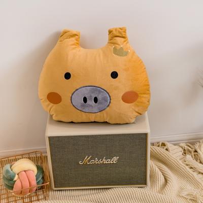 2019新款宝宝绒猪猪绣花抱枕 50*40cm 黄色