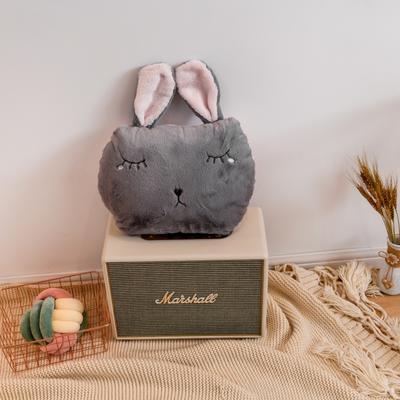 2019新款加厚兔兔绒绣花抱枕 45*35cm 灰色