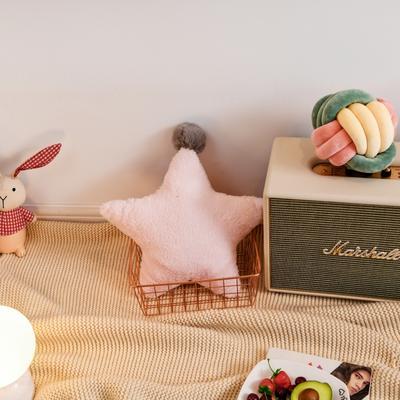 2019新款兔绒抱枕 43*43cm 五角星 五角星 粉色