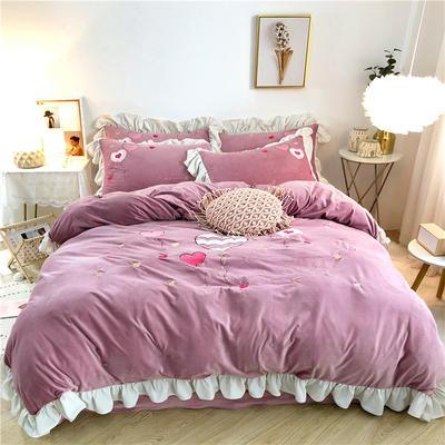 2019新款丽丝绒绣花四件套 1.5m床单款 告白气球-藕紫