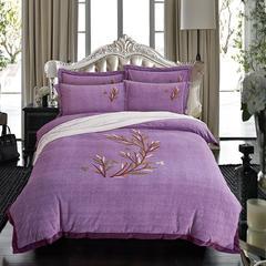 2018新款牛奶绒毛巾绣四件套 1.5m(5英尺)床 幸福树-浅紫