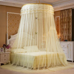 圆顶吊顶蚊帐(公主梦圆顶) 上圆直径1.2米 黄色