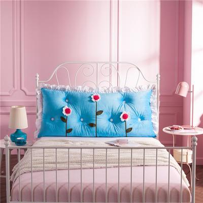 韩式剪花床靠背 150*70 花儿朵朵 深蓝