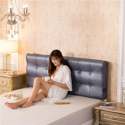 皮革曲面S型床头软包(床头款) 150*10*60 蓝灰色