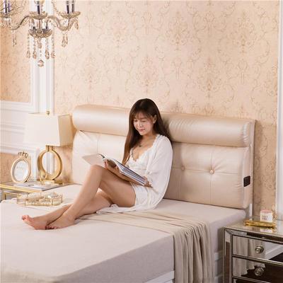 皮革压花床头软包(床头款) 150*10*60 粉玉色