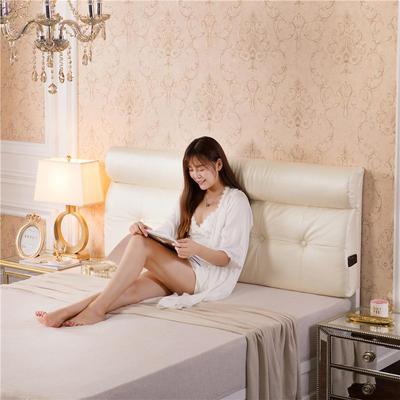 皮革压花床头软包(床头款) 150*10*60 米白色