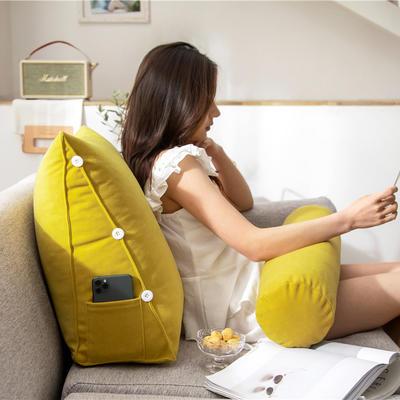 2020新款-简约轻奢风沙发调节靠枕 大号 长60*高50*宽22 流光黄