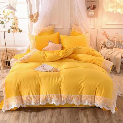 2019新款水晶绒蕾丝四件套 1.2m床三件套 暖阳黄