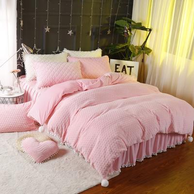 小兔绒四件套系列 1.2m(4英尺)床 粉色