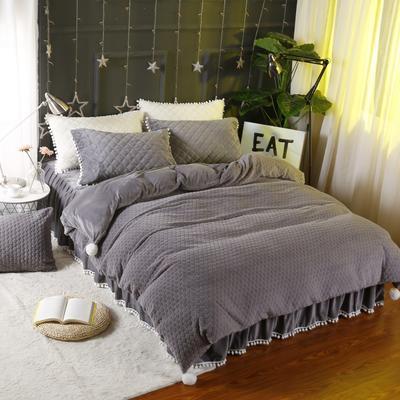 小兔绒四件套系列 1.2m(4英尺)床 灰色