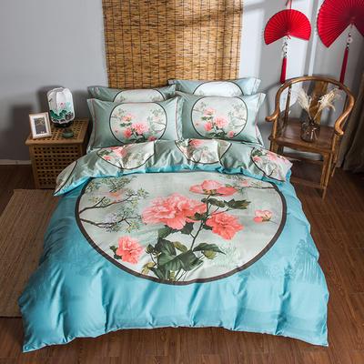 迷尚家纺 13372全棉中国风系列四件套 1.5*1.8m床 镜里观花