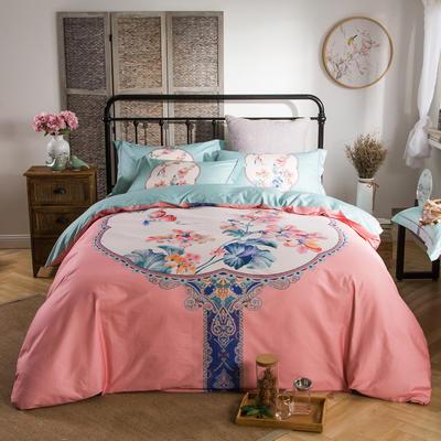 迷尚家纺 13372全棉中国风系列四件套 1.5*1.8m床 锁珠帘