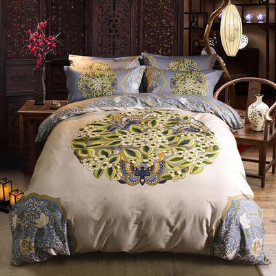 迷尚家纺 13372全棉中国风系列四件套 1.5*1.8m床 花间意
