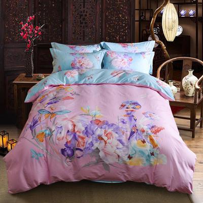迷尚家纺 13372全棉中国风系列四件套 1.5*1.8m床 练霓裳(粉)