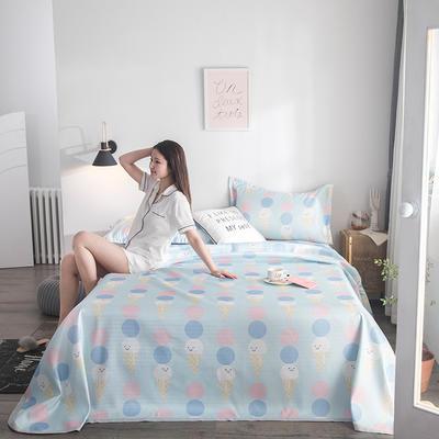 2019新款900D竹语冰丝凉席三件套床单款 250*250cm 冰激凌-水绿