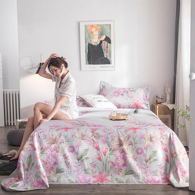 2019新款900D竹语冰丝凉席三件套床单款 250*250cm 花语-灰