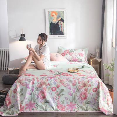 2019新款900D竹语冰丝凉席三件套床单款 250*250cm 花语-绿灰
