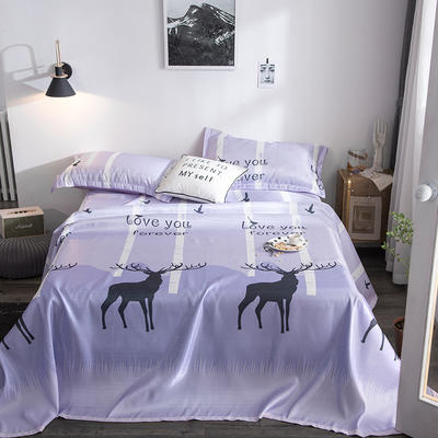 2019新款900D竹语冰丝凉席三件套床单款 250*250cm 迷之鹿-雪青