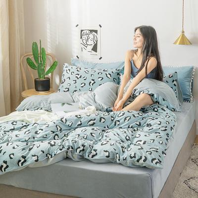 2019新款水晶绒牛奶绒豹纹数码印花四件套 1.2m床单款四件套 豹纹绿