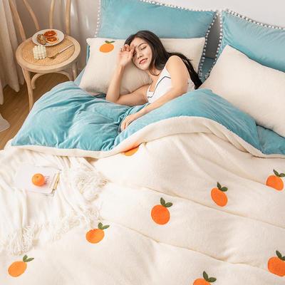 2019新款舒棉绒水晶绒牛奶绒绣花四件套 1.2m床单款四件套 小橘子