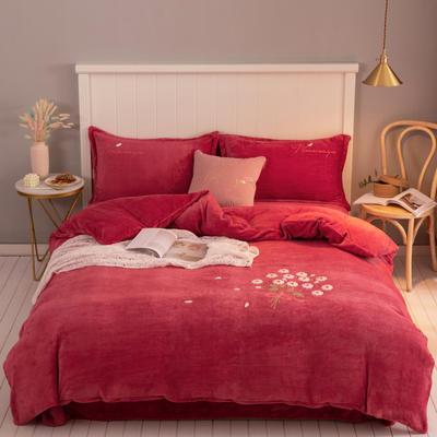 2019新款220克人字纹牛奶绒毛巾绣法莱绒水晶绒四件套 1.5m床单款 朵拉-红