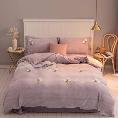 2019新款220克人字纹牛奶绒毛巾绣法莱绒水晶绒四件套 1.5m床单款 小雏菊-紫