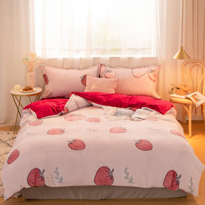 2019新款北欧ins风加厚保暖雪花绒四件套 1.2m床单款 草莓派-粉