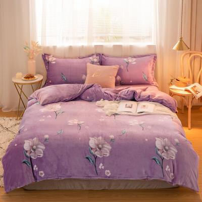 2019新款牛奶绒保暖四件套 1.2m床单款 花溪紫