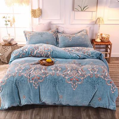 2019新款牛奶绒保暖四件套 1.2m床单款 如花似锦蓝
