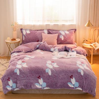 2019新款牛奶绒保暖四件套 1.2m床单款 叶影紫