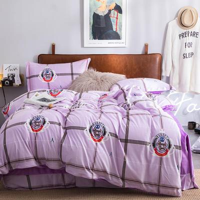 2019新款水晶绒印花保暖四件套 1.8m床单款 宝莉格(丁香紫)