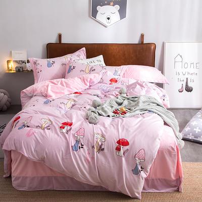 2019新款水晶绒印花保暖四件套 1.5m床单款 蘑菇森林-玉色