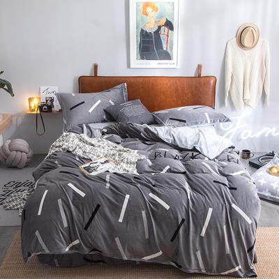 2019新款水晶绒印花保暖四件套 1.5m床单款 盛世风度爵士灰
