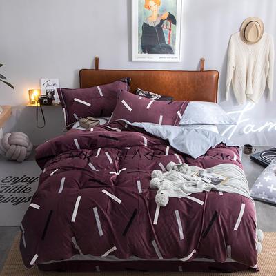 2019新款水晶绒印花保暖四件套 1.8m床单款 盛世风度千黛紫