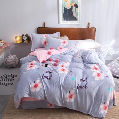 2019新款水晶绒印花保暖四件套 1.8m床单款 时尚主义(灰)