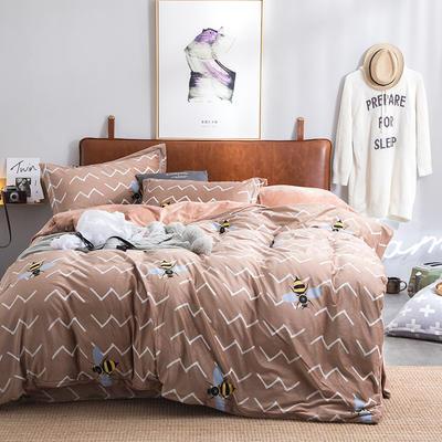 2019新款水晶绒印花保暖四件套 1.5m床单款 小蜜蜂(奶咖)