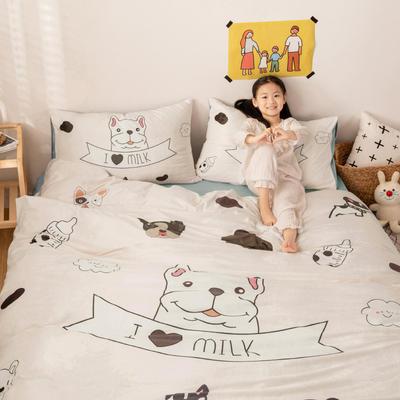 2019新款宝宝绒水晶绒牛奶绒卡通四件套 1.2m床单款四件套 小奶狗