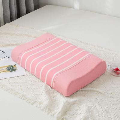 2019新款全棉水洗棉条纹乳胶枕-40*60cm 粉条纹
