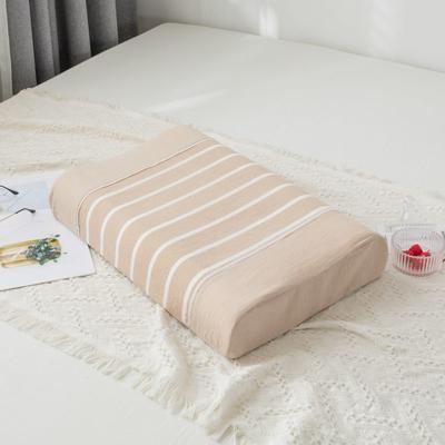 2019新款全棉水洗棉条纹乳胶枕-40*60cm 咖条纹