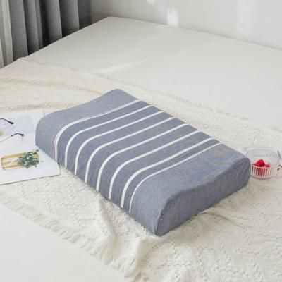 2019新款全棉水洗棉条纹乳胶枕-40*60cm 灰条纹